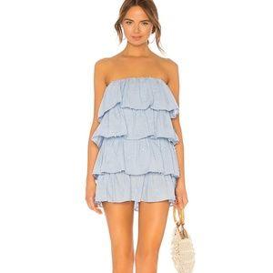 Tularosa Finley Blue Ruffle Layered Mini Dress